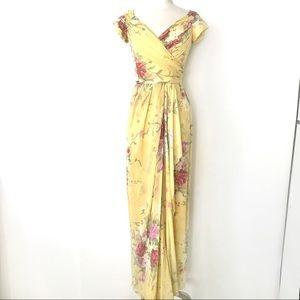 Víctor Costa VTG Floral Silk Ruched Dress 4